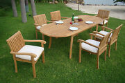 7 Pc Outdoor Dining Teak Set - 94 Double Extn Oval Table 6 Stacking Chairs Nap