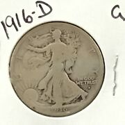 1916-d Walking Liberty Silver Half Dollar First Year Issue E9117