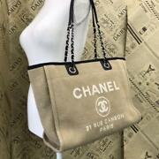 Deauville Mm Tote Bag Canvas Shoulder Chain Strap Used W/ Guarantee Card
