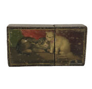 Box Case In Matches Wooden Patent Pattern Cigarette Cards Of Chats And Dogs
