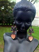 Andnbspartisan Banana Bob Earrings Faceted Pink Crystals Art Nouveaucollectible