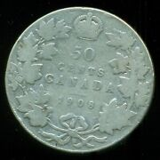1908 Canada King George V Sterling Silver Fifty Cent Piece F166