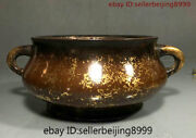 Collect Chinese Temple Purple Bronze Gilt Dynasty Statue Incense Burner Censer