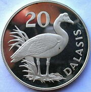 Gambia 1977 Winged Goose 20 Dalasi Silver Coinproof