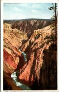 Vtg Grand Canyon Inspiration Point Yellowstone National Park Wy Antique Postcard