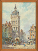 Pierre Le Boeuff - Early 20th Century Watercolour Continental Clock Tower