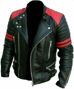Classic Design Brando Red And Black Menand039s Motorcycle Biker Genuine Leather Jacket