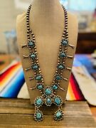 Vintage Navajo Kingman Turquoise And Sterling Silver Squash Blossom Necklace