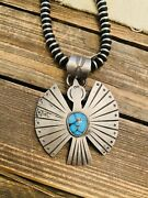 Vintage Hopi Turquoise And Coin Silver Waterbird Pendant Signed