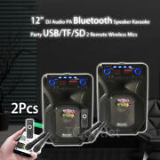2x 12and039and039 Portable Bluetooth Pa Speaker Outdoor Karaoke Party Dj Lightsand 4 Mics Us