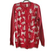 Green 3 Size Medium Novelty Cat Red White Knit Button Cardigan Sweater Usa