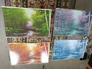 Vtg Mid Century Metal Tv Tray 4 Piece Forest Scene 4 Seasons W/rolling Stand