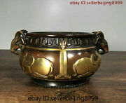 Collect Chinese Temple Purple Bronze Gilt Sheep Ear Statue Incense Burner Censer