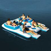 Tropical Tahiti Floating Island Inflatable Island Pool Float Holds 6 Person