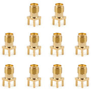 10x Smd Female Jack Solder Pcb Board Mount Straight Rf Connector Positive Feet D