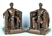 Jennings Brothers Abraham Lincoln In Chair Antique Bronze Metal Bookends Statue