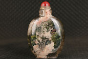 Chinese Natural Crystal Snuff Bottle Hand Painting Landscape Art