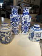 Chinese Antique Porcelain Blue And White , Vases X2 Caddy + Ginger Jar