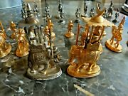 Rare Vintage Sterling Silver And Gold India Chess Set
