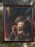Jesus, With Crown Of Thorns, By Victor Lee. Original Oil. Condition Is Excellent
