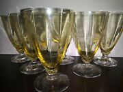 Rare -yellow Federal Depression Footed Drinking Glasses/tumblers - Set / Lot
