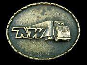 Sj13141 Vintage 1984 Nw Trucking Company Solid Brass Advertisement Buckle