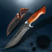 Handmade Hunting Knife Damascus Steel Fixed Blade Outdoor Survival Knives