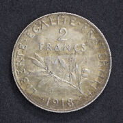 1918 2 Francs Coin France .835 Silver Km 845.1
