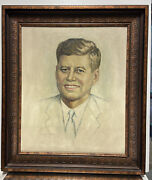 Vintage Oil Painting John F. Kennedy Artist Signed And Attributed Photographer