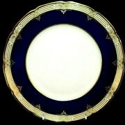 And Co. By Lenox Trianon Cobalt Blue And Gold Scalloped Dinner Plate Rare