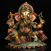 14.4 China Collection Old Pure Copper Painted Gilt Elephant Trunk God Of Wealth