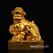 6 China Collection Old Pure Copper Hand-carved Gilt Lion Seal Set Of Jade Seal