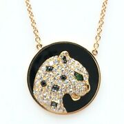 Womens Necklace 18k Rose Gold Panther Onyx Diamonds Tsavorite New Collection