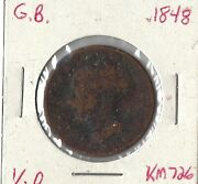 Coin Great Britain 1/2 Penny 1848 Km726 Combined Shipping