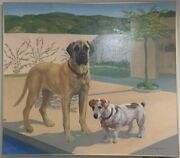 Constance Coleman Richardson Oil On Canvas Bullmastiff And Jack Russell Terrier