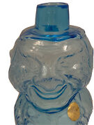 Indiana Glass Tiara Jolly Old Man Mountaineer Decanter Harvest Blue Vtg 9 Tall