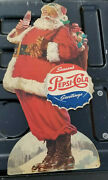 1950s Pepsi Cola Bottle Santa Claus Beverages Sign Table Top Display Christmas