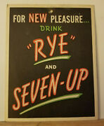 Super Rare 1930s 7up And Rye Hanging Sign Lithiated Lemon Soda Acidity Hand Overs