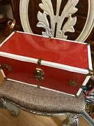 """Vintage Red Metal Doll Trunk / Wardrobe For Doll Less Than 18"""" Euc"""