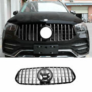 Fit For Benz Gle Gls 2020-2022 Chrome Front Center Mesh Grille Grill Cover Trim