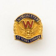 Vintage Winchester 25 Year Service Employee Lapel Pin 8k Yellow Gold Award