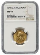 South Africa 1 Pond 1898 Paul Kruger Ngc Ms63