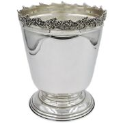 Solid Silver Champagne Bucket With Grapes Edge