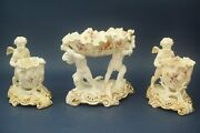 Antique Triptych Putti Gravy Boat English Porcelain Longton Moore Brothers 19th