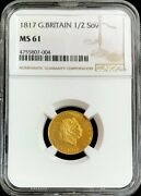 1817 Gold Great Britain 1/2 Sovereign George Iii Coin Ngc Mint State 61 Pq