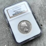 ✪ 1955 Canada 50 Cent Silver Coin One Dollar Proof Ngc Gem Pl 67 Cameo