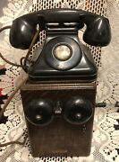 Antique Western Electric Telephone W/ Wood Ringer Box Works