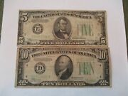 1934a Us 5 Bill And 1934c Us 10 Bill-both Green Seal-from Private Collection