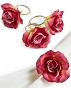 Martha Stewart Collection 18622 Valentines Day Pink Rose Napkin Rings Set Of 4