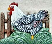 Cast Iron Metal Painted Rooster Napkin Holder Farm Letter Mail Slot Country Cute